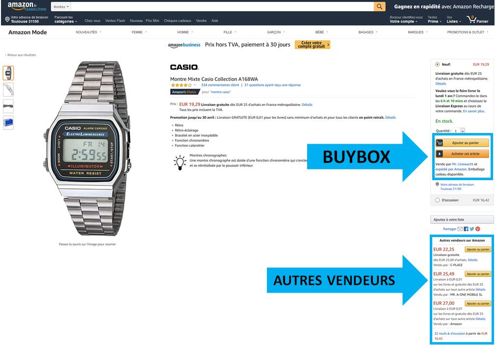 Affichage de la Buybox Amazon